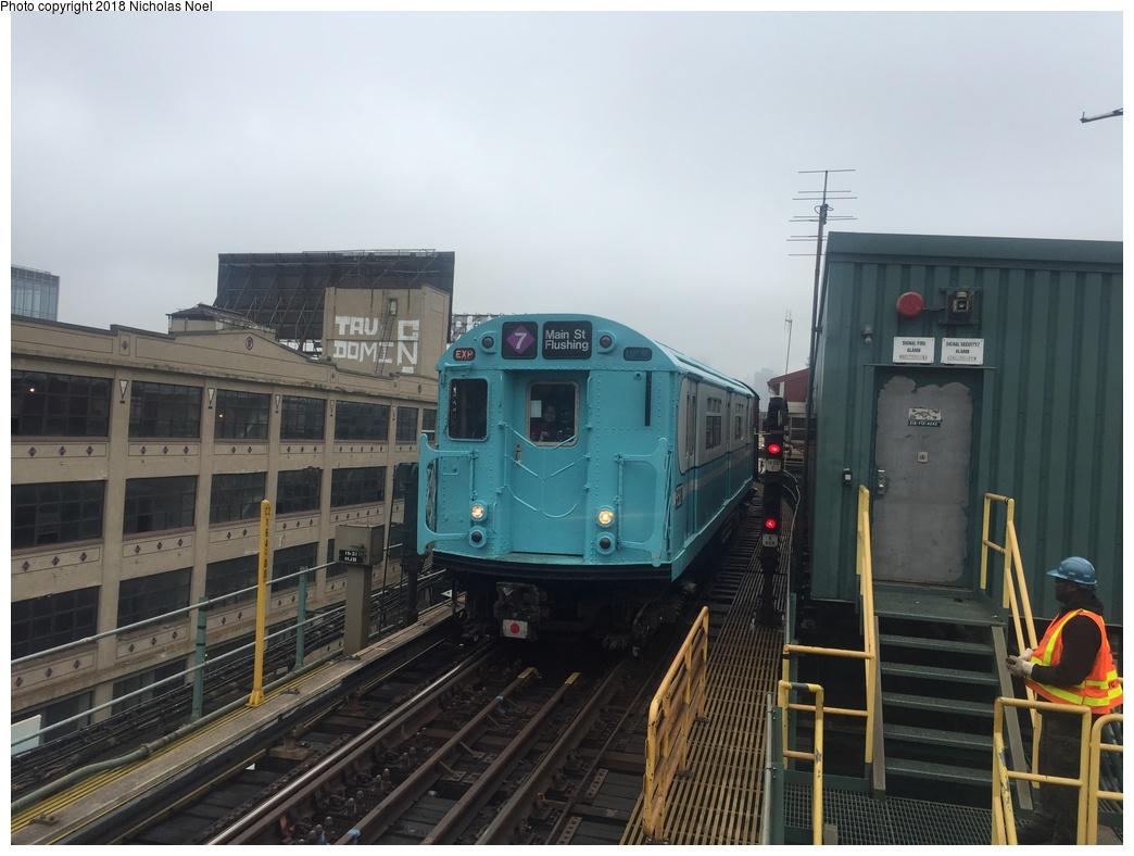 (255k, 1044x788)<br><b>Country:</b> United States<br><b>City:</b> New York<br><b>System:</b> New York City Transit<br><b>Line:</b> IRT Flushing Line<br><b>Location:</b> Queensborough Plaza <br><b>Route:</b> Museum Train Service<br><b>Car:</b> R-33 World's Fair (St. Louis, 1963-64) 9307 <br><b>Photo by:</b> Nicholas Noel<br><b>Date:</b> 3/29/2018<br><b>Viewed (this week/total):</b> 0 / 388