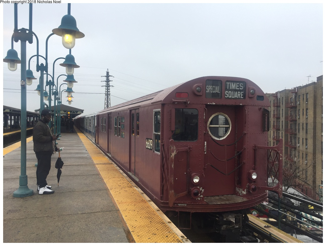 (265k, 1044x788)<br><b>Country:</b> United States<br><b>City:</b> New York<br><b>System:</b> New York City Transit<br><b>Line:</b> IRT Flushing Line<br><b>Location:</b> 61st Street/Woodside <br><b>Route:</b> Museum Train Service<br><b>Car:</b> R-17 (St. Louis, 1955-56) 6609 <br><b>Photo by:</b> Nicholas Noel<br><b>Date:</b> 3/29/2018<br><b>Viewed (this week/total):</b> 0 / 213