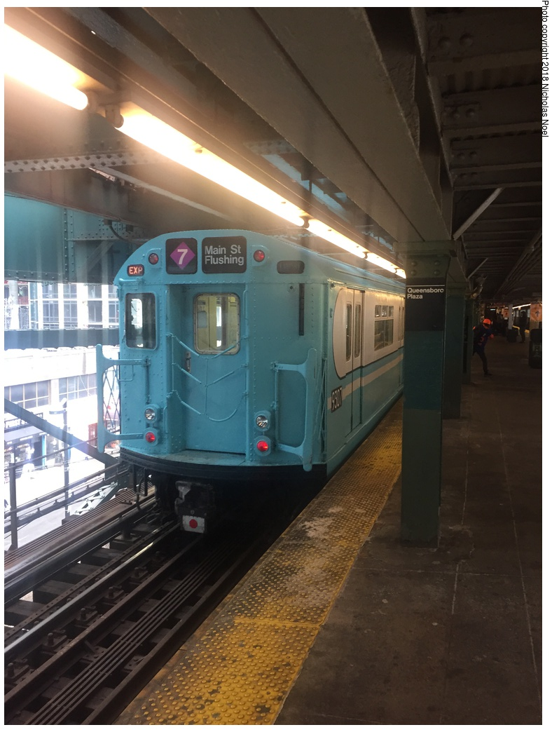(266k, 788x1044)<br><b>Country:</b> United States<br><b>City:</b> New York<br><b>System:</b> New York City Transit<br><b>Line:</b> IRT Flushing Line<br><b>Location:</b> Queensborough Plaza <br><b>Route:</b> Museum Train Service<br><b>Car:</b> R-33 World's Fair (St. Louis, 1963-64) 9307 <br><b>Photo by:</b> Nicholas Noel<br><b>Date:</b> 3/29/2018<br><b>Viewed (this week/total):</b> 5 / 251