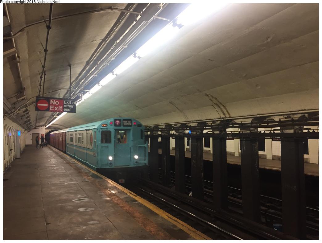 (230k, 1044x788)<br><b>Country:</b> United States<br><b>City:</b> New York<br><b>System:</b> New York City Transit<br><b>Line:</b> IND 8th Avenue Line<br><b>Location:</b> 190th Street/Overlook Terrace <br><b>Route:</b> Museum Train Service<br><b>Car:</b> R-33 World's Fair (St. Louis, 1963-64) 9307 <br><b>Photo by:</b> Nicholas Noel<br><b>Date:</b> 3/29/2018<br><b>Viewed (this week/total):</b> 3 / 500