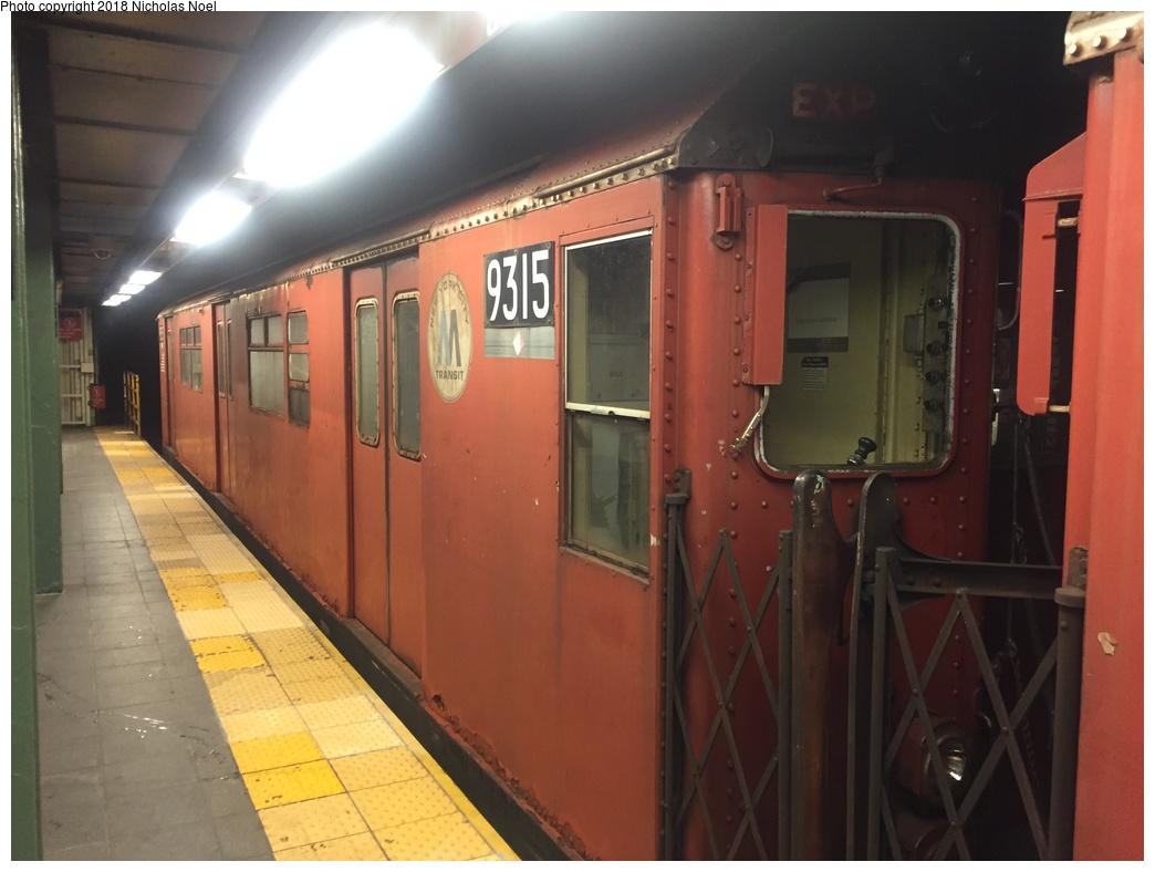 (228k, 1044x788)<br><b>Country:</b> United States<br><b>City:</b> New York<br><b>System:</b> New York City Transit<br><b>Route:</b> Work Service<br><b>Car:</b> R-33 World's Fair (St. Louis, 1963-64) 9315 <br><b>Photo by:</b> Nicholas Noel<br><b>Date:</b> 4/30/2018<br><b>Viewed (this week/total):</b> 3 / 524