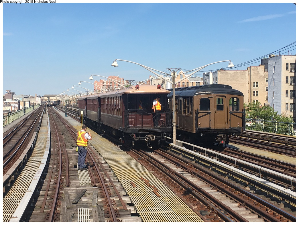 (378k, 1044x788)<br><b>Country:</b> United States<br><b>City:</b> New York<br><b>System:</b> New York City Transit<br><b>Line:</b> BMT Brighton Line<br><b>Location:</b> Brighton Beach <br><b>Route:</b> Museum Train Service<br><b>Photo by:</b> Nicholas Noel<br><b>Date:</b> 6/16/2018<br><b>Notes:</b> BU 1404 and BMT Standard 2392<br><b>Viewed (this week/total):</b> 2 / 437