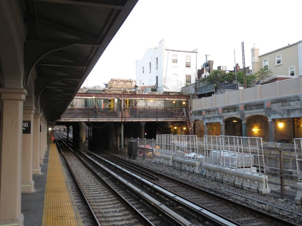(125k, 1024x768)<br><b>Country:</b> United States<br><b>City:</b> New York<br><b>System:</b> New York City Transit<br><b>Line:</b> BMT Sea Beach Line<br><b>Location:</b> 18th Avenue <br><b>Photo by:</b> Robbie Rosenfeld<br><b>Date:</b> 5/23/2018<br><b>Notes:</b> Station renovations.<br><b>Viewed (this week/total):</b> 0 / 632