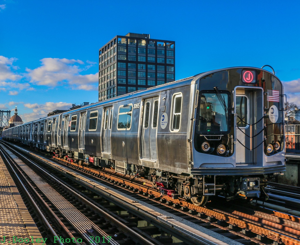 (366k, 1024x838)<br><b>Country:</b> United States<br><b>City:</b> New York<br><b>System:</b> New York City Transit<br><b>Line:</b> BMT Nassau Street/Jamaica Line<br><b>Location:</b> Marcy Avenue <br><b>Route:</b> Testing<br><b>Car:</b> R-179 (Bombardier, 2016-) 3065 <br><b>Photo by:</b> John Dooley<br><b>Date:</b> 11/19/2017<br><b>Viewed (this week/total):</b> 4 / 669