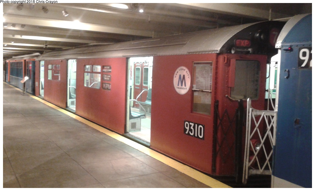 (208k, 1044x634)<br><b>Country:</b> United States<br><b>City:</b> New York<br><b>System:</b> New York City Transit<br><b>Location:</b> New York Transit Museum<br><b>Car:</b> R-33 World's Fair (St. Louis, 1963-64) 9310 <br><b>Photo by:</b> Chris Crayon<br><b>Date:</b> 6/7/2018<br><b>Viewed (this week/total):</b> 2 / 231