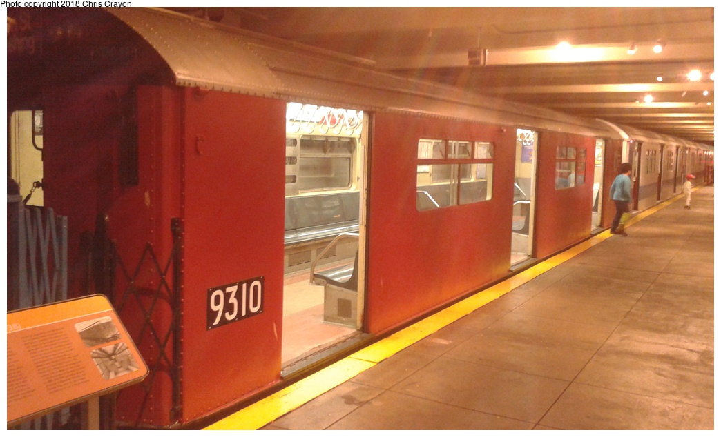 (218k, 1044x634)<br><b>Country:</b> United States<br><b>City:</b> New York<br><b>System:</b> New York City Transit<br><b>Location:</b> New York Transit Museum<br><b>Car:</b> R-33 World's Fair (St. Louis, 1963-64) 9310 <br><b>Photo by:</b> Chris Crayon<br><b>Date:</b> 6/7/2018<br><b>Viewed (this week/total):</b> 0 / 418