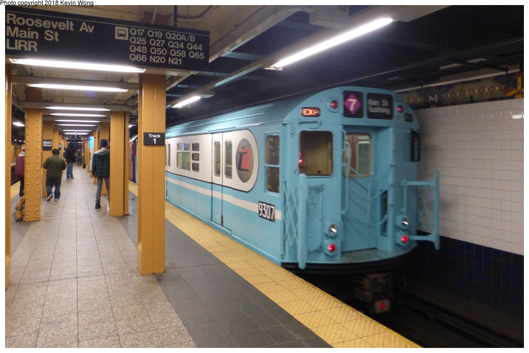 (251k, 1044x697)<br><b>Country:</b> United States<br><b>City:</b> New York<br><b>System:</b> New York City Transit<br><b>Line:</b> IRT Flushing Line<br><b>Location:</b> Times Square <br><b>Route:</b> Museum Train Service<br><b>Car:</b> R-33 World's Fair (St. Louis, 1963-64) 9307 <br><b>Photo by:</b> Kevin Wong<br><b>Date:</b> 3/29/2018<br><b>Viewed (this week/total):</b> 3 / 490