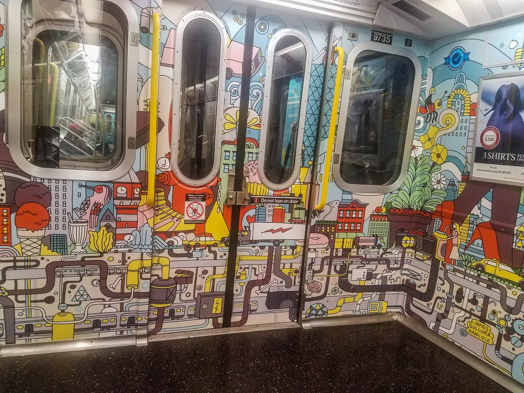 (511k, 1024x768)<br><b>Country:</b> United States<br><b>City:</b> New York<br><b>System:</b> New York City Transit<br><b>Route:</b> E<br><b>Car:</b> R-160A (Option 2) (Alstom, 2009, 5-car sets)  9735 <br><b>Photo by:</b> John Dooley<br><b>Date:</b> 10/6/2017<br><b>Notes:</b> Car interior modifications<br><b>Viewed (this week/total):</b> 3 / 516