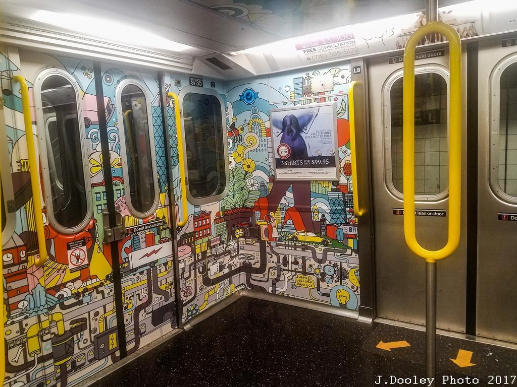 (394k, 1024x768)<br><b>Country:</b> United States<br><b>City:</b> New York<br><b>System:</b> New York City Transit<br><b>Route:</b> E<br><b>Car:</b> R-160A (Option 2) (Alstom, 2009, 5-car sets)  9735 <br><b>Photo by:</b> John Dooley<br><b>Date:</b> 10/6/2017<br><b>Notes:</b> Car interior modifications<br><b>Viewed (this week/total):</b> 0 / 194