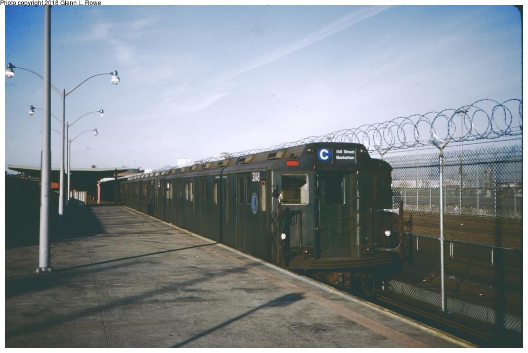 (204k, 1044x698)<br><b>Country:</b> United States<br><b>City:</b> New York<br><b>System:</b> New York City Transit<br><b>Line:</b> IND Rockaway<br><b>Location:</b> Rockaway Park/Beach 116th Street <br><b>Route:</b> C<br><b>Car:</b> R-10 (American Car & Foundry, 1948) 3048 <br><b>Photo by:</b> Glenn L. Rowe<br><b>Date:</b> 3/1989<br><b>Viewed (this week/total):</b> 4 / 754