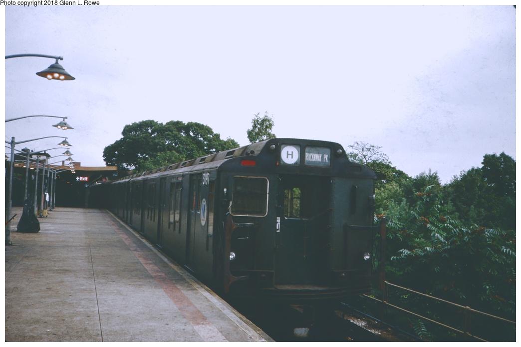 (170k, 1044x695)<br><b>Country:</b> United States<br><b>City:</b> New York<br><b>System:</b> New York City Transit<br><b>Line:</b> IND Rockaway<br><b>Location:</b> Mott Avenue/Far Rockaway <br><b>Route:</b> H<br><b>Car:</b> R-10 (American Car & Foundry, 1948) 3197 <br><b>Photo by:</b> Glenn L. Rowe<br><b>Date:</b> 10/3/1988<br><b>Viewed (this week/total):</b> 3 / 1033