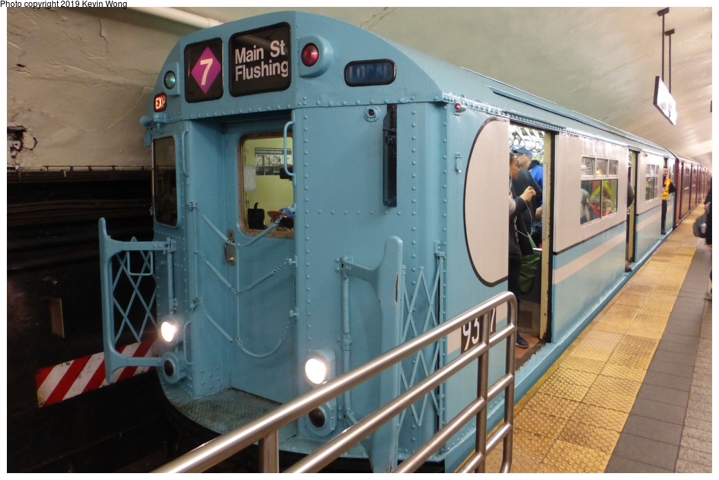 (259k, 1044x697)<br><b>Country:</b> United States<br><b>City:</b> New York<br><b>System:</b> New York City Transit<br><b>Line:</b> IRT Flushing Line<br><b>Location:</b> Grand Central <br><b>Route:</b> Museum Train Service<br><b>Car:</b> R-33 World's Fair (St. Louis, 1963-64) 9307 <br><b>Photo by:</b> Kevin Wong<br><b>Date:</b> 3/29/2018<br><b>Viewed (this week/total):</b> 2 / 258