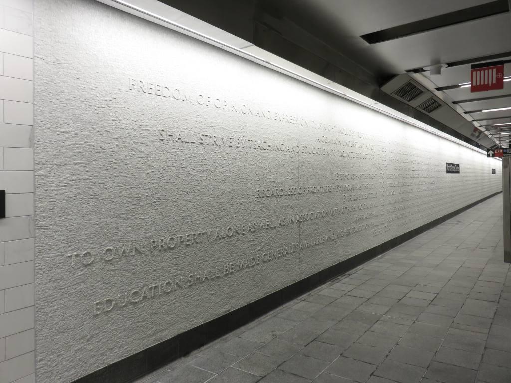 (122k, 1024x768)<br><b>Country:</b> United States<br><b>City:</b> New York<br><b>System:</b> New York City Transit<br><b>Line:</b> IRT West Side Line<br><b>Location:</b> Cortlandt Street-World Trade Center <br><b>Photo by:</b> Robbie Rosenfeld<br><b>Date:</b> 9/12/2018<br><b>Notes:</b> New station - artwork<br><b>Viewed (this week/total):</b> 0 / 473