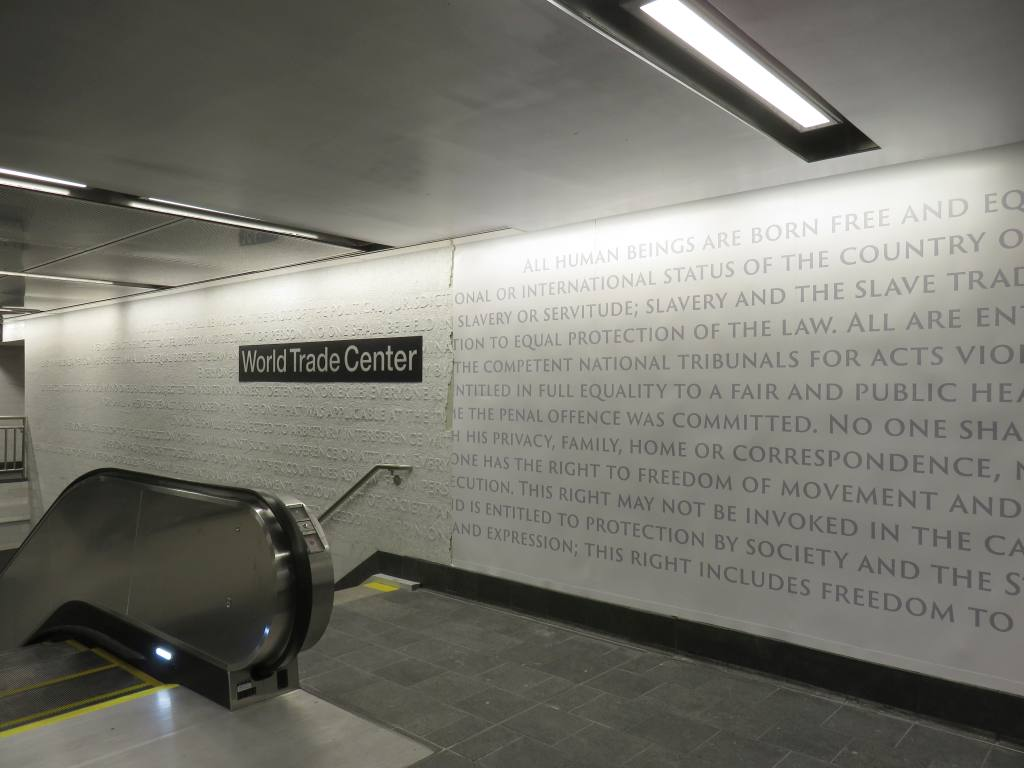 (82k, 1024x768)<br><b>Country:</b> United States<br><b>City:</b> New York<br><b>System:</b> New York City Transit<br><b>Line:</b> IRT West Side Line<br><b>Location:</b> Cortlandt Street-World Trade Center <br><b>Photo by:</b> Robbie Rosenfeld<br><b>Date:</b> 9/12/2018<br><b>Notes:</b> New station - artwork<br><b>Viewed (this week/total):</b> 6 / 166