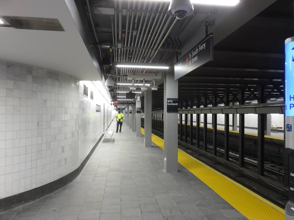 (100k, 1024x768)<br><b>Country:</b> United States<br><b>City:</b> New York<br><b>System:</b> New York City Transit<br><b>Line:</b> IRT West Side Line<br><b>Location:</b> Cortlandt Street-World Trade Center <br><b>Photo by:</b> Robbie Rosenfeld<br><b>Date:</b> 9/12/2018<br><b>Notes:</b> New station - platform<br><b>Viewed (this week/total):</b> 5 / 403