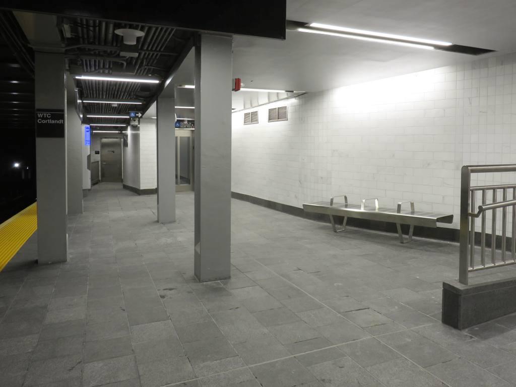 (76k, 1024x768)<br><b>Country:</b> United States<br><b>City:</b> New York<br><b>System:</b> New York City Transit<br><b>Line:</b> IRT West Side Line<br><b>Location:</b> Cortlandt Street-World Trade Center <br><b>Photo by:</b> Robbie Rosenfeld<br><b>Date:</b> 9/12/2018<br><b>Notes:</b> New station - platform<br><b>Viewed (this week/total):</b> 9 / 37