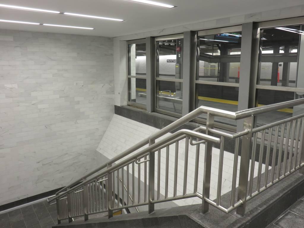 (106k, 1024x768)<br><b>Country:</b> United States<br><b>City:</b> New York<br><b>System:</b> New York City Transit<br><b>Line:</b> IRT West Side Line<br><b>Location:</b> Cortlandt Street-World Trade Center <br><b>Photo by:</b> Robbie Rosenfeld<br><b>Date:</b> 9/12/2018<br><b>Notes:</b> New station - stairs<br><b>Viewed (this week/total):</b> 2 / 351