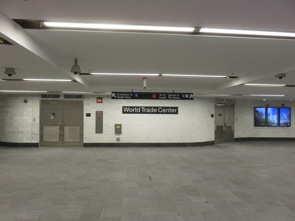 (76k, 1024x768)<br><b>Country:</b> United States<br><b>City:</b> New York<br><b>System:</b> New York City Transit<br><b>Line:</b> IRT West Side Line<br><b>Location:</b> Cortlandt Street-World Trade Center <br><b>Photo by:</b> Robbie Rosenfeld<br><b>Date:</b> 9/12/2018<br><b>Notes:</b> New station - underpass<br><b>Viewed (this week/total):</b> 3 / 708