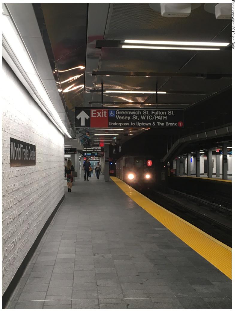 (258k, 788x1044)<br><b>Country:</b> United States<br><b>City:</b> New York<br><b>System:</b> New York City Transit<br><b>Line:</b> IRT West Side Line<br><b>Location:</b> Cortlandt Street-World Trade Center <br><b>Photo by:</b> Ian Dale<br><b>Date:</b> 9/12/2018<br><b>Notes:</b> New station - platform<br><b>Viewed (this week/total):</b> 16 / 57