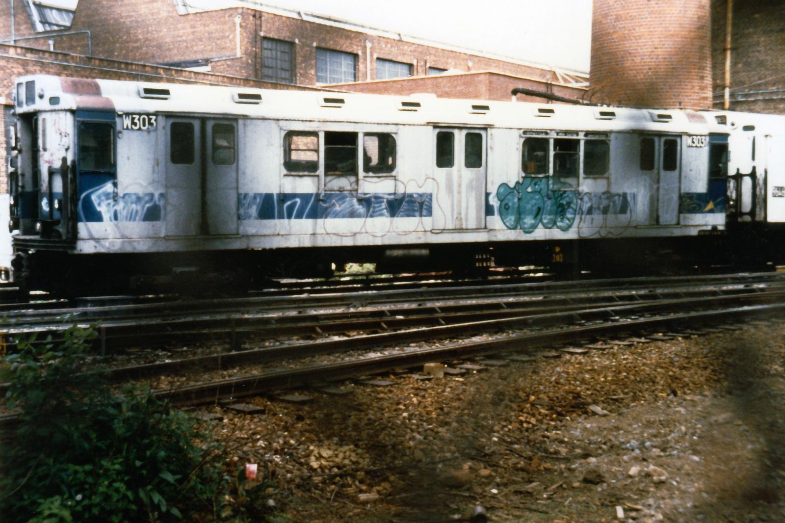 (767k, 1600x1066)<br><b>Country:</b> United States<br><b>City:</b> New York<br><b>System:</b> New York City Transit<br><b>Location:</b> Coney Island Yard<br><b>Car:</b> R-12 (American Car & Foundry, 1948) W303 (ex-5756)<br><b>Collection of:</b> Nicholas Fabrizio<br><b>Notes:</b> Welding supply car.<br><b>Viewed (this week/total):</b> 30 / 101