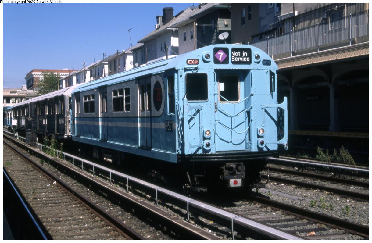 (686k, 1620x1057)<br><b>Country:</b> United States<br><b>City:</b> New York<br><b>System:</b> New York City Transit<br><b>Line:</b> BMT Sea Beach Line<br><b>Location:</b> Avenue U <br><b>Car:</b> R-33 World's Fair (St. Louis, 1963-64) 9307 <br><b>Photo by:</b> Stewart Milstein<br><b>Date:</b> 9/27/2019<br><b>Viewed (this week/total):</b> 1 / 253