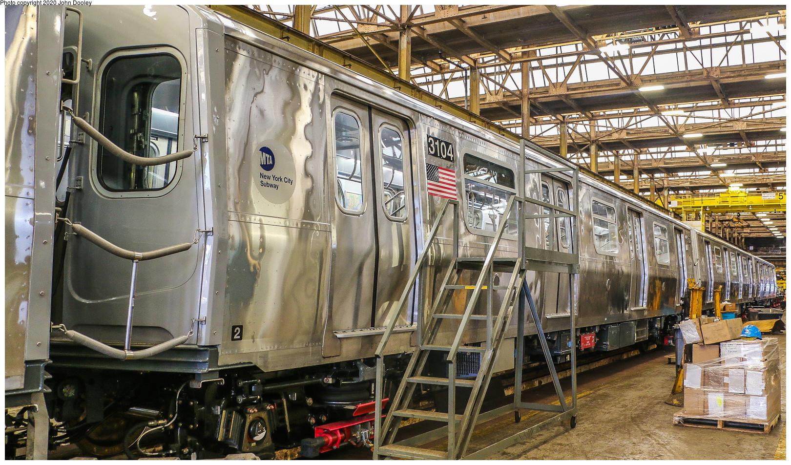 (1024k, 1620x952)<br><b>Country:</b> United States<br><b>City:</b> New York<br><b>System:</b> New York City Transit<br><b>Location:</b> 207th Street Shop<br><b>Car:</b> R-179 (Bombardier, 2016-2019) 3104 <br><b>Photo by:</b> John Dooley<br><b>Date:</b> 6/15/2018<br><b>Viewed (this week/total):</b> 11 / 55