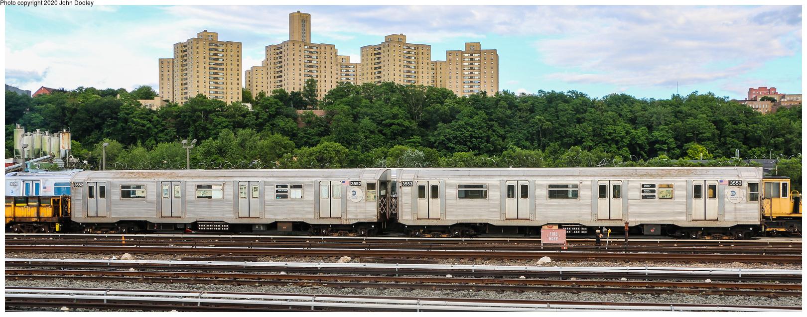 (671k, 1620x637)<br><b>Country:</b> United States<br><b>City:</b> New York<br><b>System:</b> New York City Transit<br><b>Location:</b> 207th Street Yard<br><b>Route:</b> Work Service<br><b>Car:</b> R-32 (Budd, 1964)  3552-3553 <br><b>Photo by:</b> John Dooley<br><b>Date:</b> 6/15/2018<br><b>Notes:</b> Garbage motors<br><b>Viewed (this week/total):</b> 20 / 80