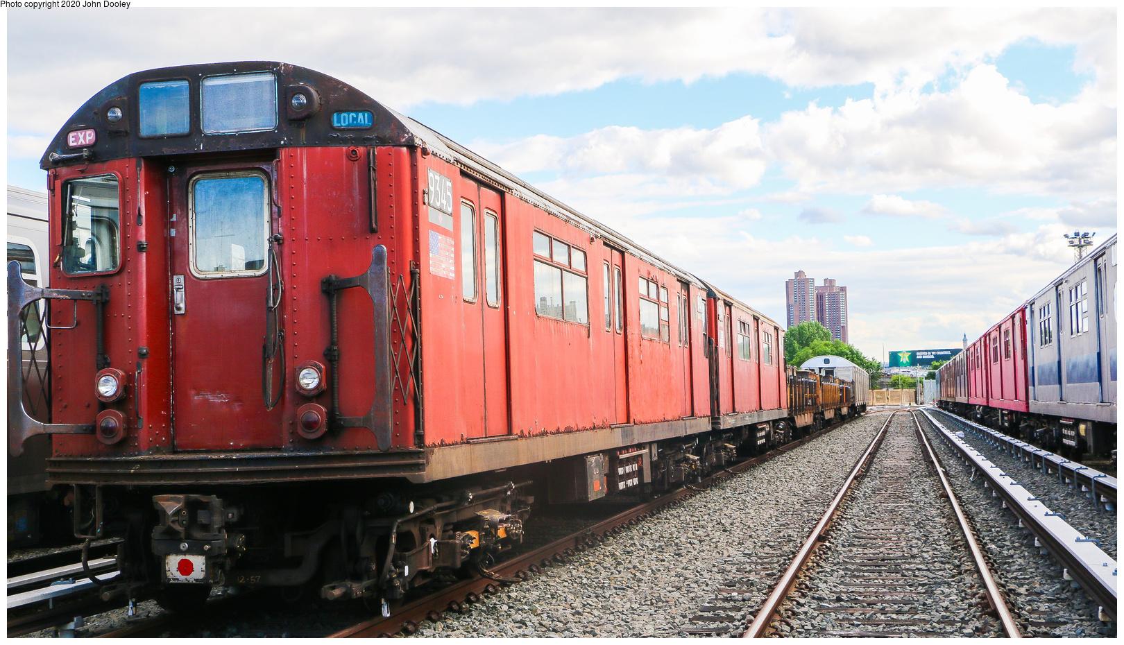 (796k, 1620x930)<br><b>Country:</b> United States<br><b>City:</b> New York<br><b>System:</b> New York City Transit<br><b>Location:</b> 207th Street Yard<br><b>Car:</b> R-33 World's Fair (St. Louis, 1963-64) 9345 <br><b>Photo by:</b> John Dooley<br><b>Date:</b> 6/15/2018<br><b>Viewed (this week/total):</b> 4 / 281