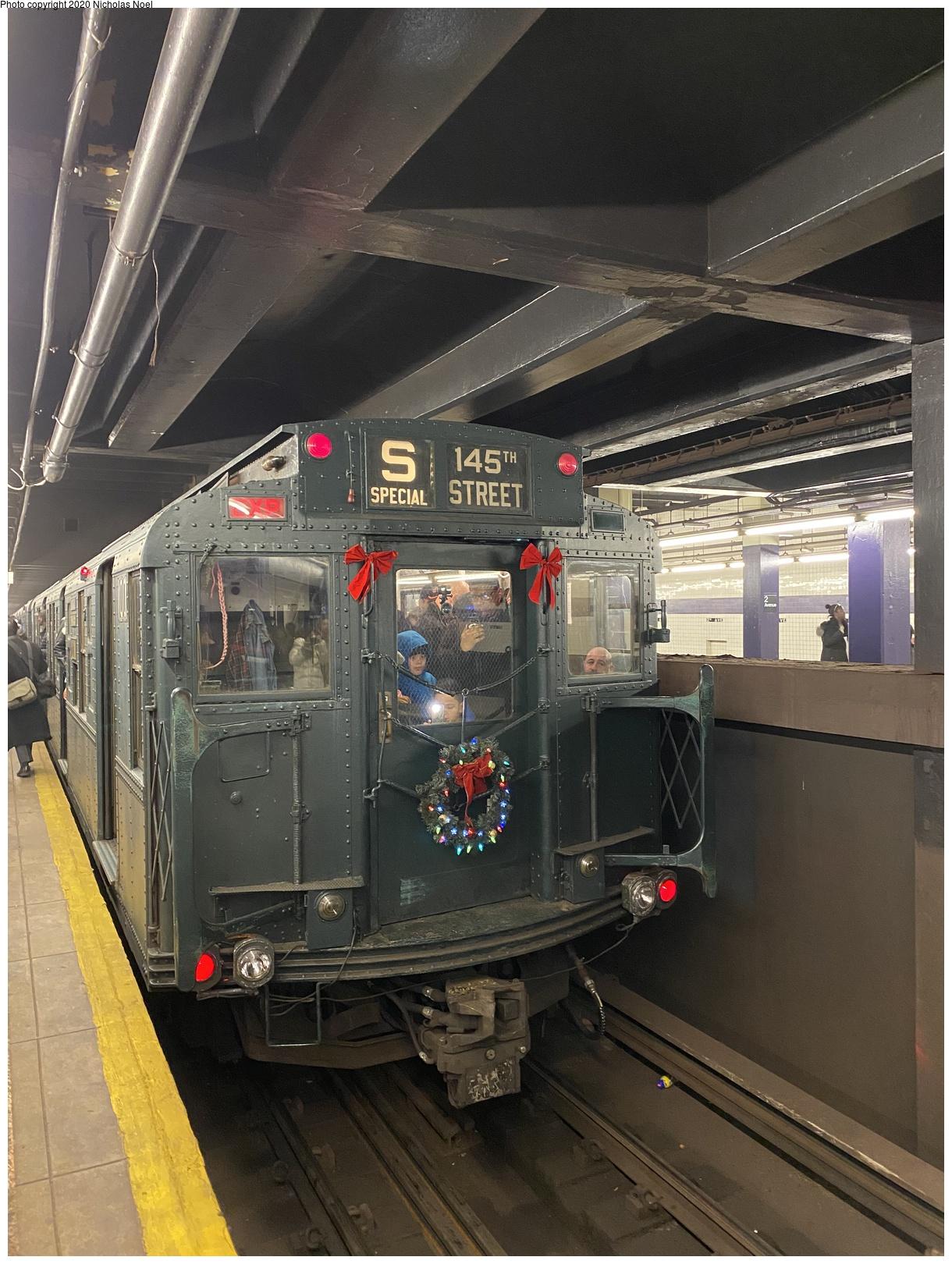 (724k, 1220x1620)<br><b>Country:</b> United States<br><b>City:</b> New York<br><b>System:</b> New York City Transit<br><b>Line:</b> IND 6th Avenue Line<br><b>Location:</b> 2nd Avenue<br><b>Route:</b> Museum Train Service<br><b>Car:</b> R-1 (American Car & Foundry, 1930-1931) 100 <br><b>Photo by:</b> Nicholas Noel<br><b>Date:</b> 12/22/2019<br><b>Viewed (this week/total):</b> 1 / 156