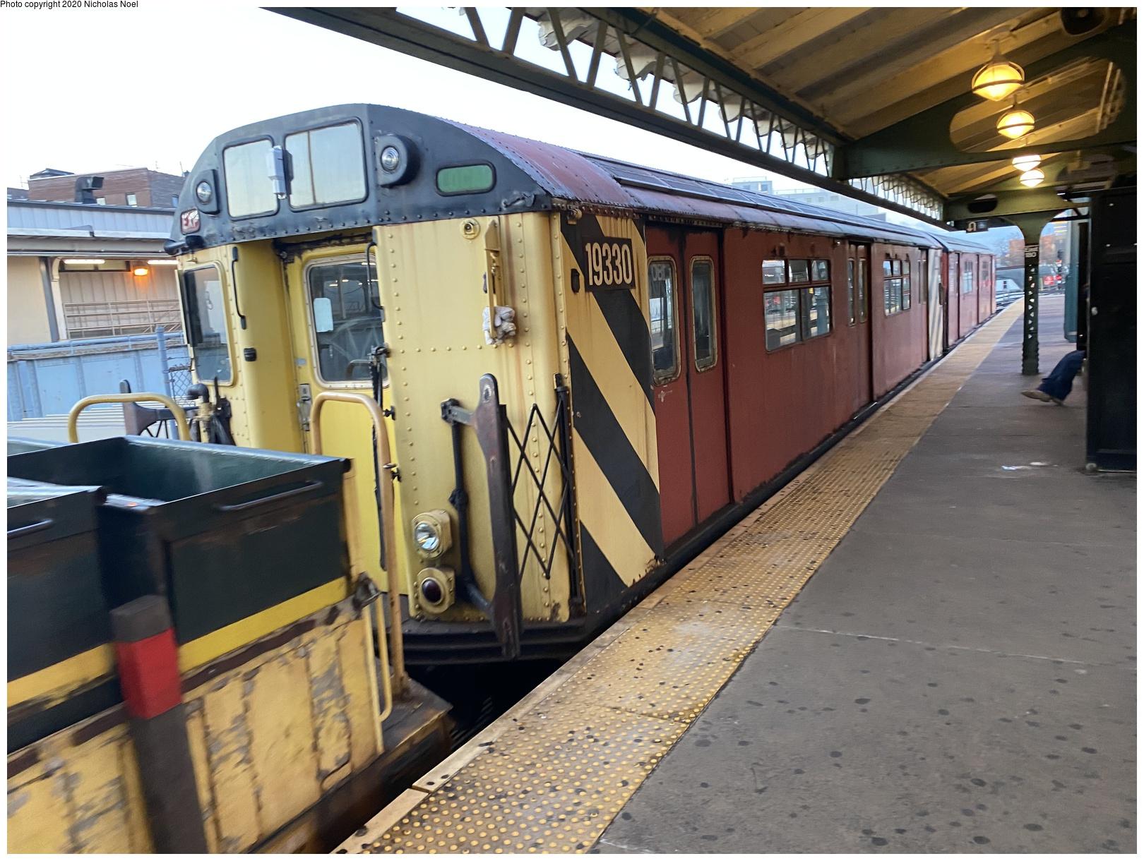 (669k, 1620x1220)<br><b>Country:</b> United States<br><b>City:</b> New York<br><b>System:</b> New York City Transit<br><b>Line:</b> IRT White Plains Road Line<br><b>Location:</b> East 180th Street<br><b>Route:</b> Work Service<br><b>Car:</b> R-33 World's Fair (St. Louis, 1963-64) 9330 <br><b>Photo by:</b> Nicholas Noel<br><b>Date:</b> 2/14/2020<br><b>Viewed (this week/total):</b> 3 / 219