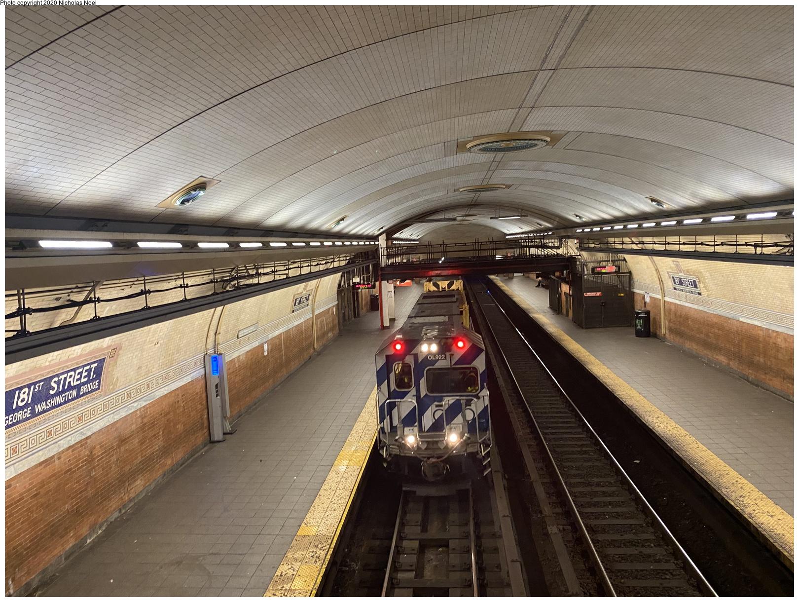 (806k, 1620x1220)<br><b>Country:</b> United States<br><b>City:</b> New York<br><b>System:</b> New York City Transit<br><b>Line:</b> IRT West Side Line<br><b>Location:</b> 181st Street <br><b>Route:</b> Work Service<br><b>Car:</b> R-156 Diesel-Electric Locomotive (MPI, 2012-2013) 922 <br><b>Photo by:</b> Nicholas Noel<br><b>Date:</b> 2/15/2020<br><b>Viewed (this week/total):</b> 21 / 82