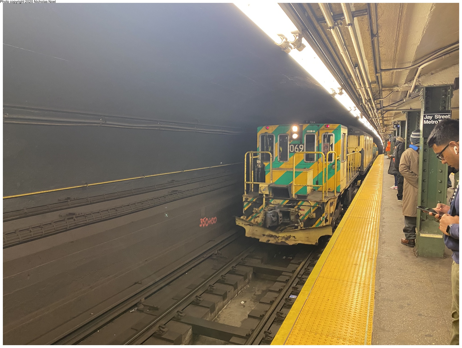 (669k, 1620x1220)<br><b>Country:</b> United States<br><b>City:</b> New York<br><b>System:</b> New York City Transit<br><b>Line:</b> BMT Broadway Line<br><b>Location:</b> Jay St./Metrotech (Lawrence St.)<br><b>Route:</b> Work Service<br><b>Car:</b> R-47 Locomotive 69 <br><b>Photo by:</b> Nicholas Noel<br><b>Date:</b> 3/5/2020<br><b>Viewed (this week/total):</b> 1 / 173