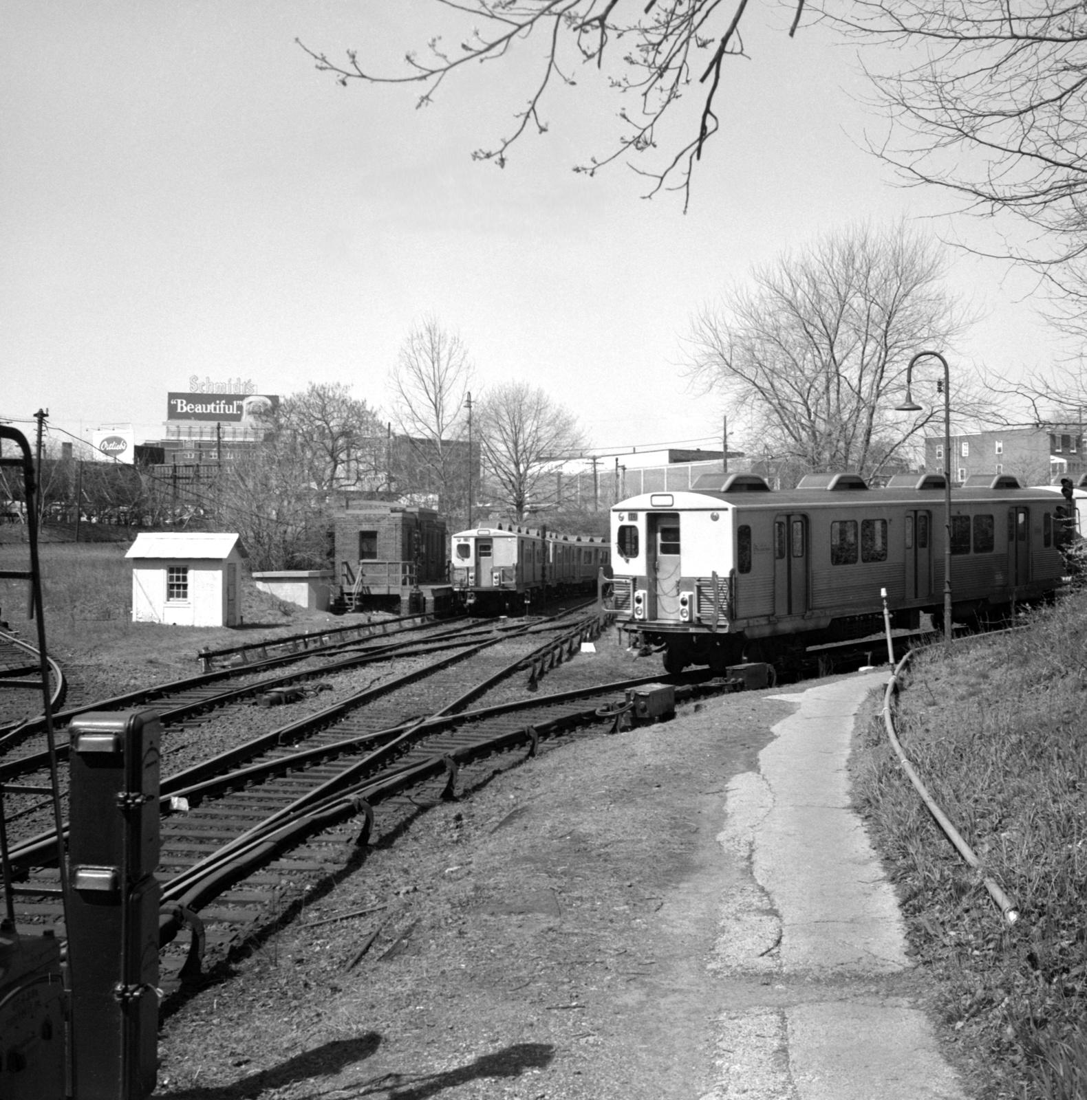 (844k, 1580x1600)<br><b>Country:</b> United States<br><b>City:</b> Philadelphia, PA<br><b>System:</b> SEPTA (or Predecessor)<br><b>Line:</b> Market-Frankford El<br><b>Location:</b> 69th Street<br><b>Car:</b> SEPTA M-3 (Budd, 1960)  <br><b>Collection of:</b> David Pirmann<br><b>Date:</b> 4/18/1970<br><b>Viewed (this week/total):</b> 2 / 55
