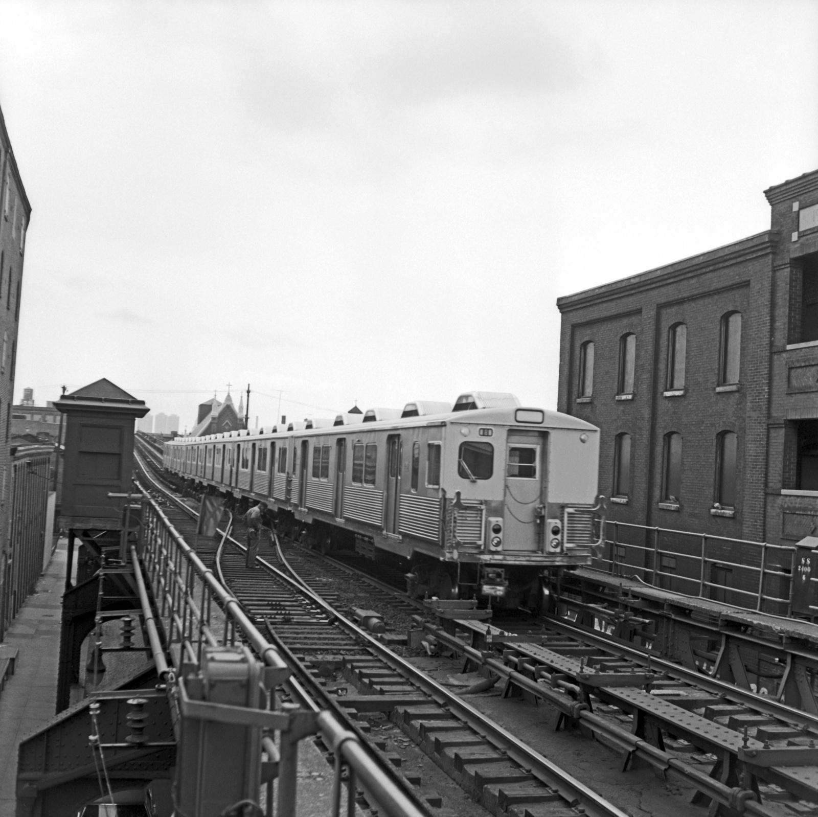 (616k, 1600x1598)<br><b>Country:</b> United States<br><b>City:</b> Philadelphia, PA<br><b>System:</b> SEPTA (or Predecessor)<br><b>Line:</b> Market-Frankford El<br><b>Location:</b> Girard<br><b>Car:</b> SEPTA M-3 (Budd, 1960)  <br><b>Collection of:</b> David Pirmann<br><b>Date:</b> 10/12/1968<br><b>Viewed (this week/total):</b> 2 / 55