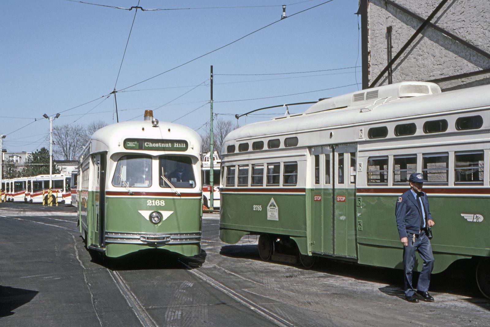 (760k, 1600x1067)<br><b>Country:</b> United States<br><b>City:</b> Philadelphia, PA<br><b>System:</b> SEPTA (or Predecessor)<br><b>Line:</b> Rt. 23-Germantown<br><b>Location:</b> Germantown Depot<br><b>Car:</b> PTC/SEPTA Postwar All-electric PCC (St.Louis, 1948) 2168/2785 <br><b>Collection of:</b> David Pirmann<br><b>Date:</b> 5/1995<br><b>Viewed (this week/total):</b> 0 / 44