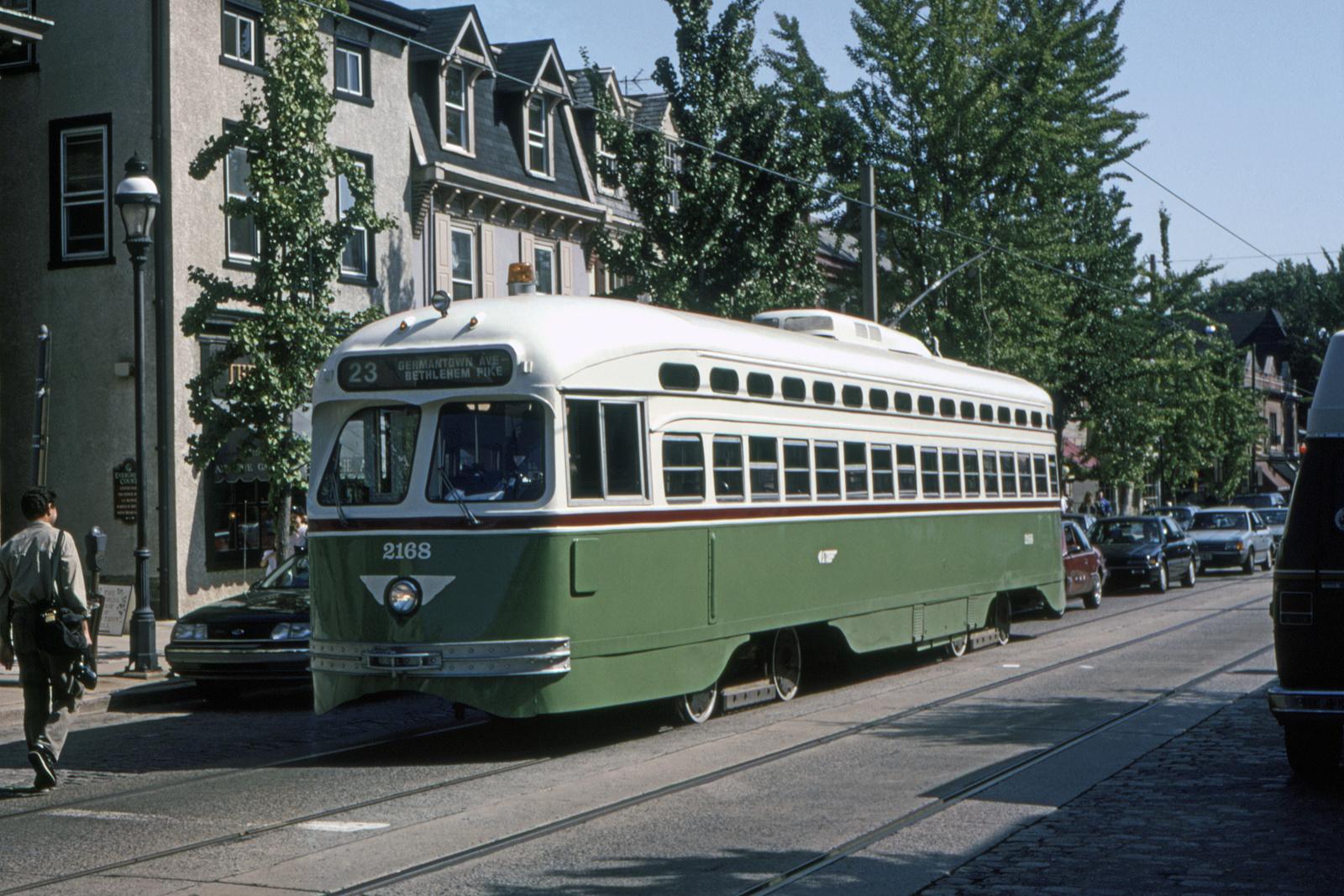 (855k, 1600x1067)<br><b>Country:</b> United States<br><b>City:</b> Philadelphia, PA<br><b>System:</b> SEPTA (or Predecessor)<br><b>Line:</b> Rt. 23-Germantown<br><b>Location:</b> Germantown/Evergreen<br><b>Car:</b> PTC/SEPTA Postwar All-electric PCC (St.Louis, 1948) 2168 <br><b>Collection of:</b> David Pirmann<br><b>Date:</b> 10/1993<br><b>Viewed (this week/total):</b> 0 / 39
