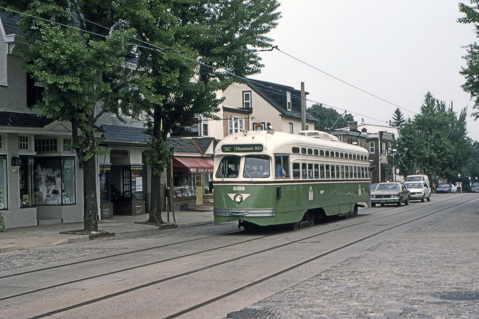 (895k, 1600x1067)<br><b>Country:</b> United States<br><b>City:</b> Philadelphia, PA<br><b>System:</b> SEPTA (or Predecessor)<br><b>Line:</b> Rt. 23-Germantown<br><b>Location:</b> Germantown/Hartwell<br><b>Car:</b> PTC/SEPTA Postwar All-electric PCC (St.Louis, 1948) 2168 <br><b>Collection of:</b> David Pirmann<br><b>Date:</b> 1993<br><b>Viewed (this week/total):</b> 0 / 47