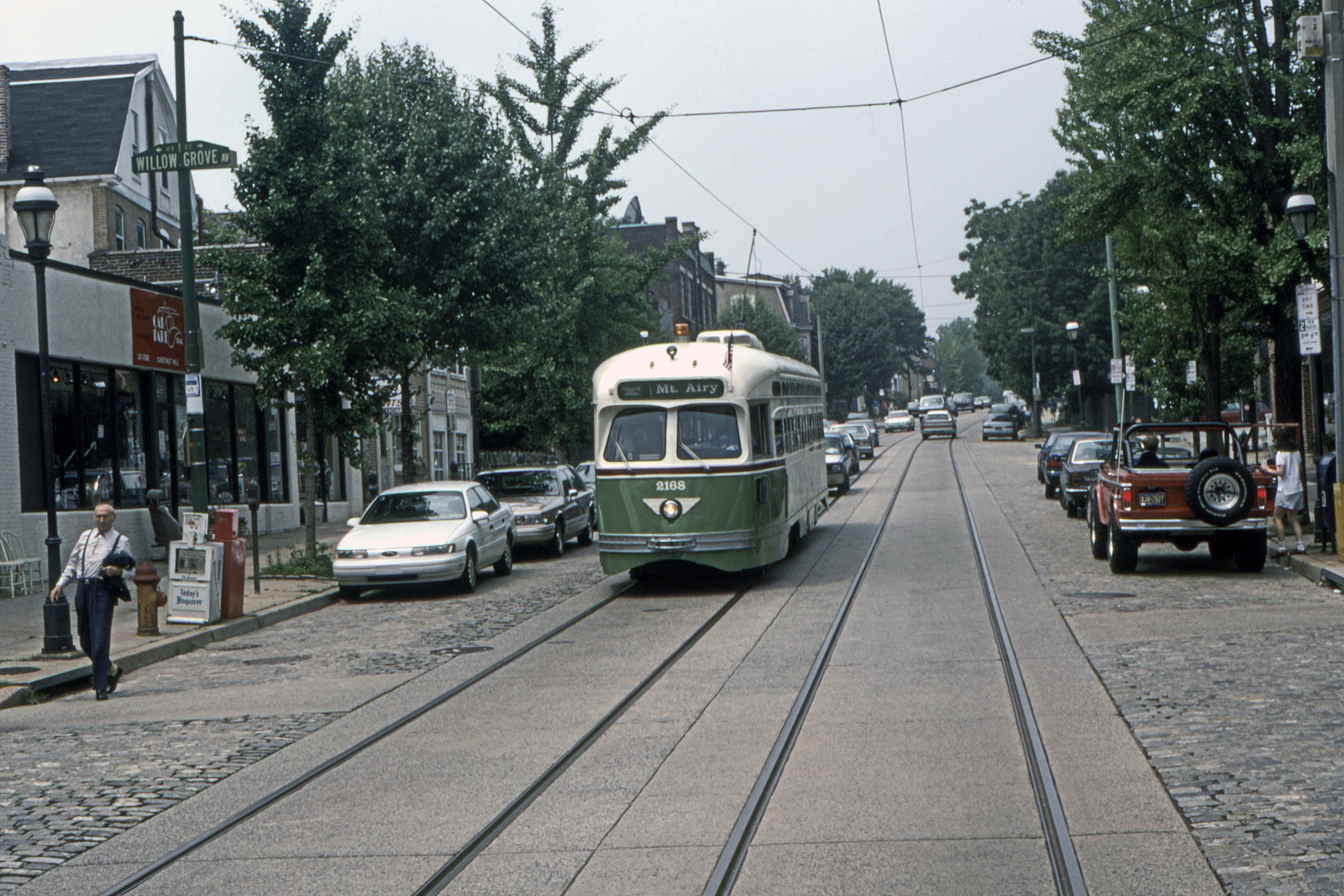 (883k, 1600x1067)<br><b>Country:</b> United States<br><b>City:</b> Philadelphia, PA<br><b>System:</b> SEPTA (or Predecessor)<br><b>Line:</b> Rt. 23-Germantown<br><b>Location:</b> Germantown/Willow Grove<br><b>Car:</b> PTC/SEPTA Postwar All-electric PCC (St.Louis, 1948) 2168 <br><b>Collection of:</b> David Pirmann<br><b>Date:</b> 1993<br><b>Viewed (this week/total):</b> 0 / 47