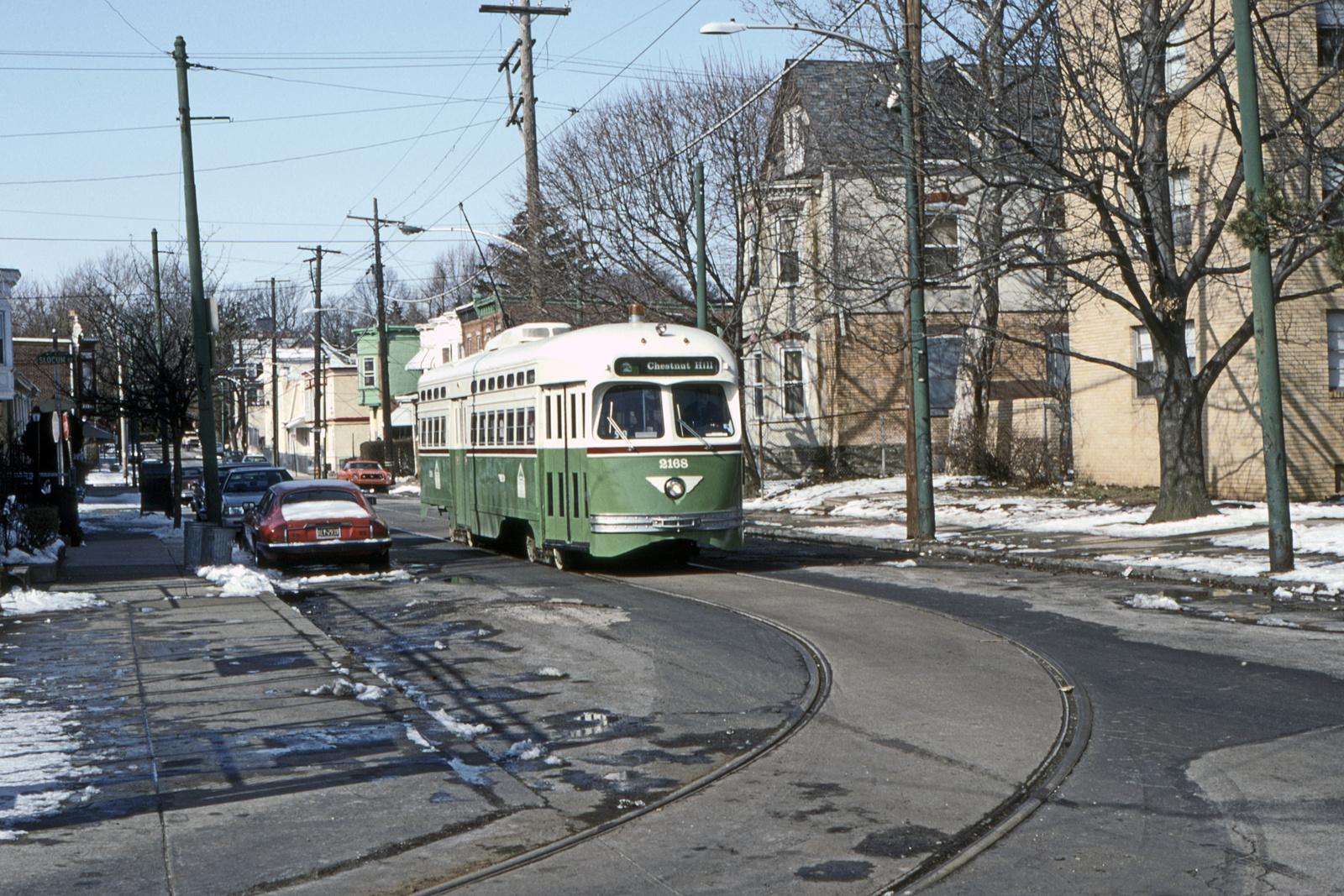 (1009k, 1600x1067)<br><b>Country:</b> United States<br><b>City:</b> Philadelphia, PA<br><b>System:</b> SEPTA (or Predecessor)<br><b>Line:</b> Rt. 23-Germantown<br><b>Location:</b> Germantown Depot<br><b>Car:</b> PTC/SEPTA Postwar All-electric PCC (St.Louis, 1948) 2168 <br><b>Collection of:</b> David Pirmann<br><b>Date:</b> 3/1993<br><b>Viewed (this week/total):</b> 0 / 45
