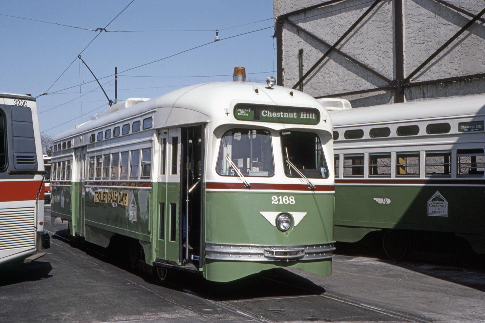 (716k, 1600x1067)<br><b>Country:</b> United States<br><b>City:</b> Philadelphia, PA<br><b>System:</b> SEPTA (or Predecessor)<br><b>Line:</b> Rt. 23-Germantown<br><b>Location:</b> Germantown Depot<br><b>Car:</b> PTC/SEPTA Postwar All-electric PCC (St.Louis, 1948) 2168 <br><b>Collection of:</b> David Pirmann<br><b>Date:</b> 5/1993<br><b>Viewed (this week/total):</b> 0 / 48