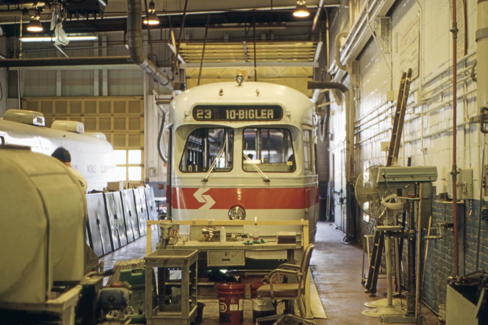 (658k, 1600x1067)<br><b>Country:</b> United States<br><b>City:</b> Philadelphia, PA<br><b>System:</b> SEPTA (or Predecessor)<br><b>Line:</b> Rt. 23-Germantown<br><b>Location:</b> Germantown Depot<br><b>Car:</b> PTC/SEPTA Postwar All-electric PCC (St.Louis, 1948) 2182 <br><b>Collection of:</b> David Pirmann<br><b>Date:</b> 5/15/1995<br><b>Viewed (this week/total):</b> 0 / 51