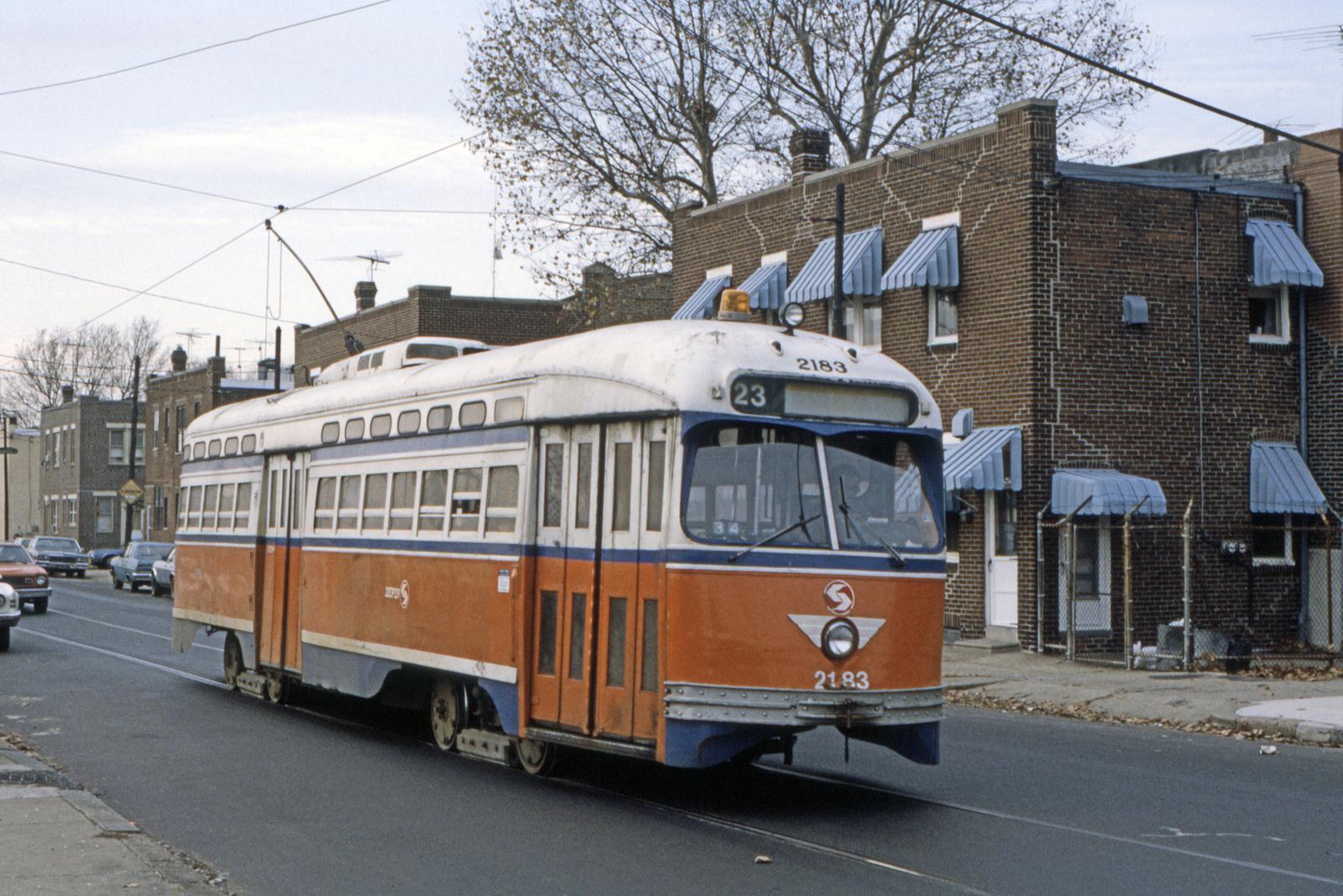 (934k, 1600x1067)<br><b>Country:</b> United States<br><b>City:</b> Philadelphia, PA<br><b>System:</b> SEPTA (or Predecessor)<br><b>Line:</b> Rt. 23-Germantown<br><b>Location:</b> 10th/Bigler<br><b>Car:</b> PTC/SEPTA Postwar All-electric PCC (St.Louis, 1948) 2183 <br><b>Collection of:</b> David Pirmann<br><b>Date:</b> 5/1983<br><b>Viewed (this week/total):</b> 2 / 57