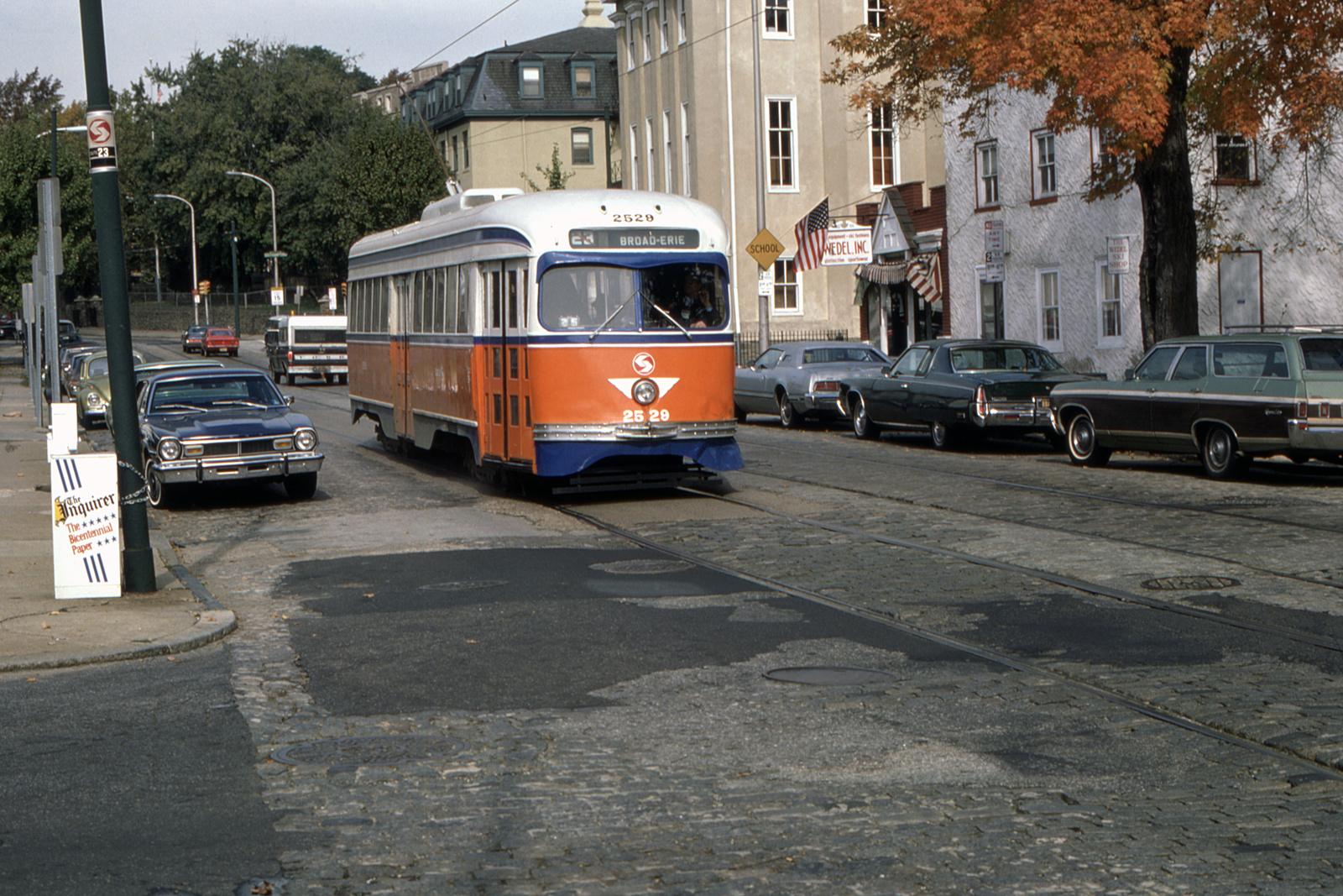 (879k, 1600x1067)<br><b>Country:</b> United States<br><b>City:</b> Philadelphia, PA<br><b>System:</b> SEPTA (or Predecessor)<br><b>Line:</b> Rt. 23-Germantown<br><b>Location:</b> Germantown/Hartwell<br><b>Car:</b> PTC/SEPTA Pre-war Air-car PCC (St.Louis, 1940) 2529 <br><b>Collection of:</b> David Pirmann<br><b>Date:</b> 10/1978<br><b>Viewed (this week/total):</b> 0 / 38
