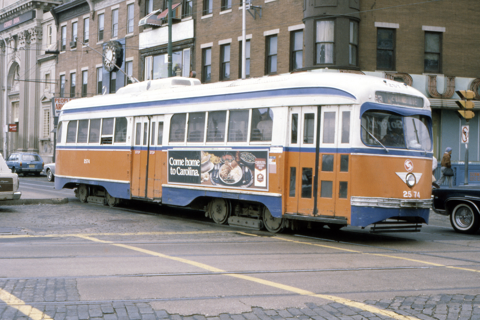 (773k, 1600x1067)<br><b>Country:</b> United States<br><b>City:</b> Philadelphia, PA<br><b>System:</b> SEPTA (or Predecessor)<br><b>Line:</b> Rt. 23-Germantown<br><b>Location:</b> Germantown/Broad/Erie<br><b>Car:</b> PTC/SEPTA Pre-war Air-car PCC (St.Louis, 1940) 2574 <br><b>Collection of:</b> David Pirmann<br><b>Date:</b> 12/1980<br><b>Viewed (this week/total):</b> 0 / 52