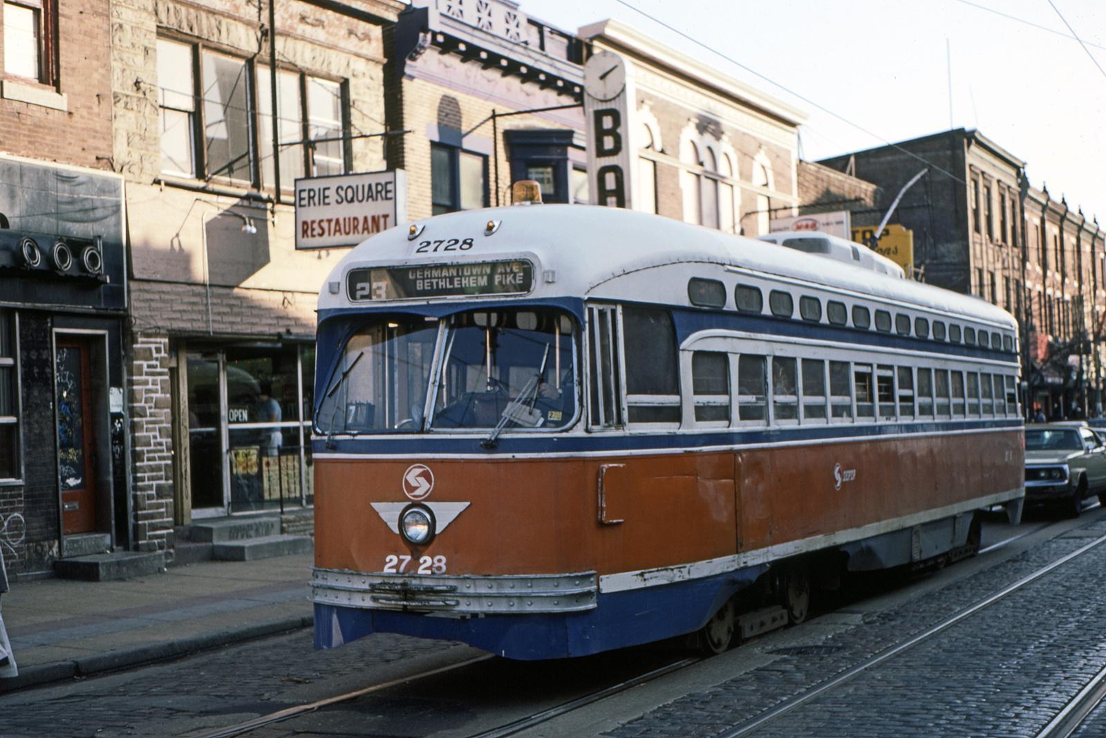 (739k, 1600x1067)<br><b>Country:</b> United States<br><b>City:</b> Philadelphia, PA<br><b>System:</b> SEPTA (or Predecessor)<br><b>Line:</b> Rt. 23-Germantown<br><b>Location:</b> Germantown/Broad/Erie<br><b>Car:</b> PTC/SEPTA Postwar All-electric PCC (St.Louis, 1947) 2728 <br><b>Collection of:</b> David Pirmann<br><b>Date:</b> 2/1984<br><b>Viewed (this week/total):</b> 0 / 44