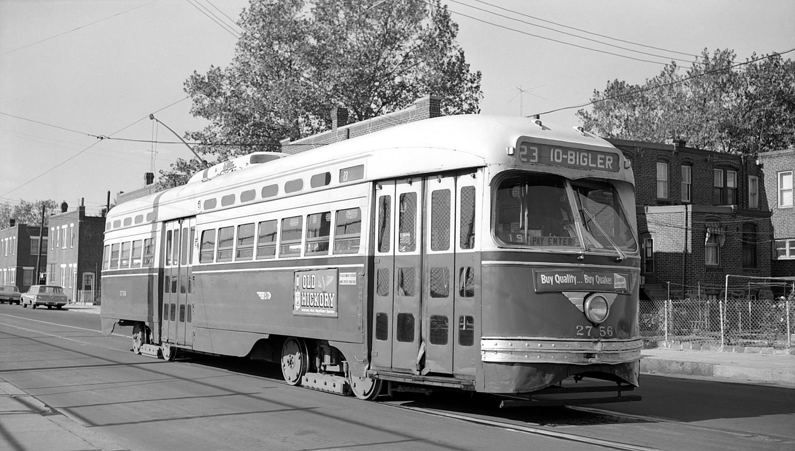 (529k, 1600x908)<br><b>Country:</b> United States<br><b>City:</b> Philadelphia, PA<br><b>System:</b> SEPTA (or Predecessor)<br><b>Line:</b> Rt. 23-Germantown<br><b>Location:</b> 10th/Bigler<br><b>Car:</b> PTC/SEPTA Postwar All-electric PCC (St.Louis, 1947) 2756 <br><b>Collection of:</b> David Pirmann<br><b>Date:</b> 10/1961<br><b>Viewed (this week/total):</b> 0 / 53