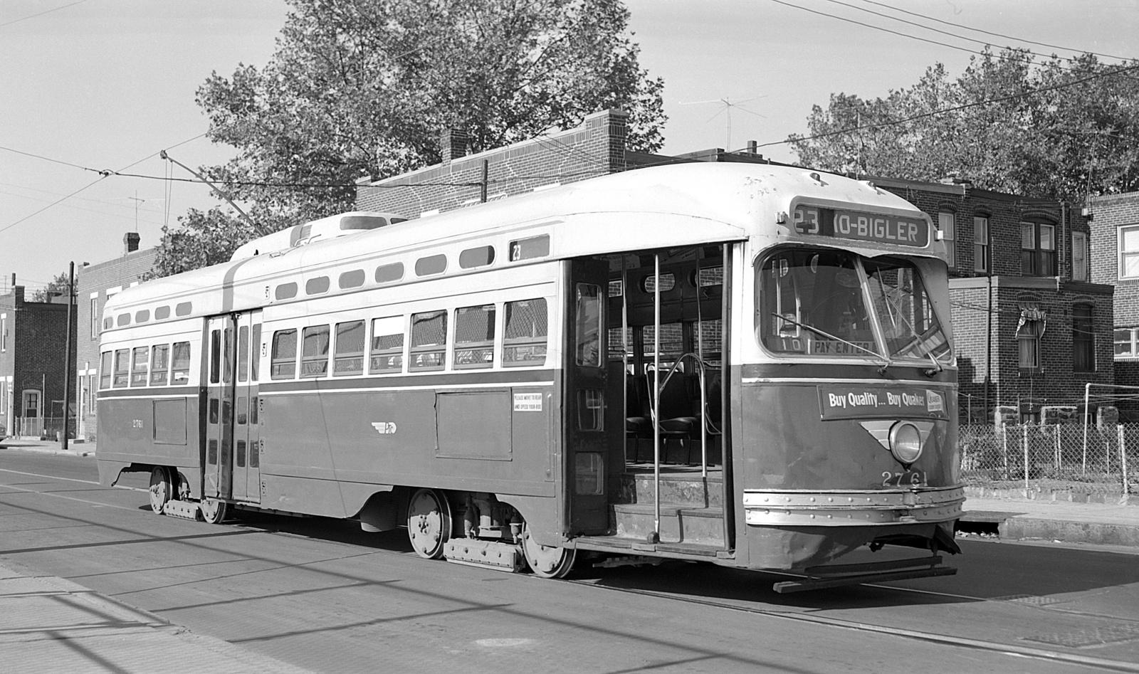 (592k, 1600x947)<br><b>Country:</b> United States<br><b>City:</b> Philadelphia, PA<br><b>System:</b> SEPTA (or Predecessor)<br><b>Line:</b> Rt. 23-Germantown<br><b>Location:</b> 10th/Bigler<br><b>Car:</b> PTC/SEPTA Postwar All-electric PCC (St.Louis, 1947) 2761 <br><b>Collection of:</b> David Pirmann<br><b>Date:</b> 10/1961<br><b>Viewed (this week/total):</b> 1 / 52