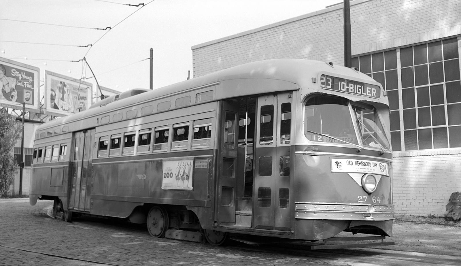 (446k, 1600x923)<br><b>Country:</b> United States<br><b>City:</b> Philadelphia, PA<br><b>System:</b> SEPTA (or Predecessor)<br><b>Line:</b> Rt. 23-Germantown<br><b>Location:</b> Bethlehem Pike/Chestnut Hill Loop<br><b>Car:</b> PTC/SEPTA Postwar All-electric PCC (St.Louis, 1947) 2764 <br><b>Collection of:</b> David Pirmann<br><b>Date:</b> 6/9/1959<br><b>Viewed (this week/total):</b> 1 / 47