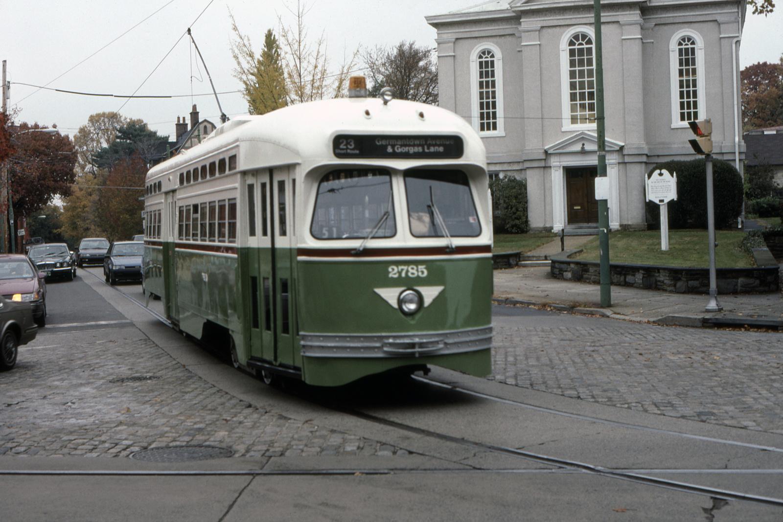 (679k, 1600x1067)<br><b>Country:</b> United States<br><b>City:</b> Philadelphia, PA<br><b>System:</b> SEPTA (or Predecessor)<br><b>Line:</b> Rt. 23-Germantown<br><b>Location:</b> Bethlehem Pike/Chestnut Hill Loop<br><b>Car:</b> PTC/SEPTA Postwar All-electric PCC (St.Louis, 1947) 2785 <br><b>Collection of:</b> David Pirmann<br><b>Date:</b> 11/1982<br><b>Viewed (this week/total):</b> 0 / 39