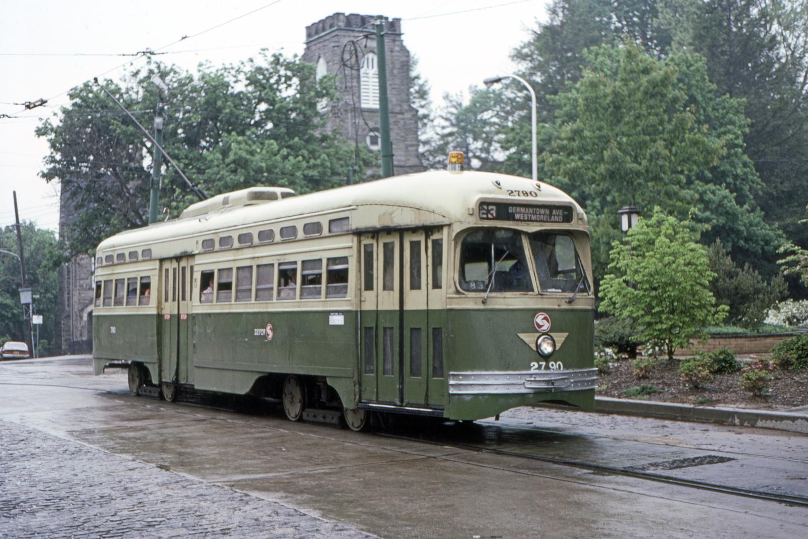 (762k, 1600x1067)<br><b>Country:</b> United States<br><b>City:</b> Philadelphia, PA<br><b>System:</b> SEPTA (or Predecessor)<br><b>Line:</b> Rt. 23-Germantown<br><b>Location:</b> Bethlehem Pike/Chestnut Hill Loop<br><b>Car:</b> PTC/SEPTA Postwar All-electric PCC (St.Louis, 1947) 2790 <br><b>Collection of:</b> David Pirmann<br><b>Date:</b> 5/22/1983<br><b>Viewed (this week/total):</b> 1 / 57